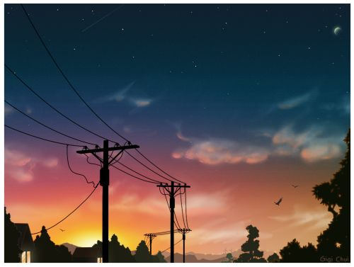 #painting #drawing #illustration #sunset #lanscape #sunset glow #sunset clouds #sunset colors #sunset collection #night #sky #stars #star #art #cloud #clouds