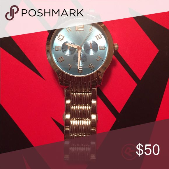 Men's silver watch Stainless steel watch with teal face Accessories Watches
