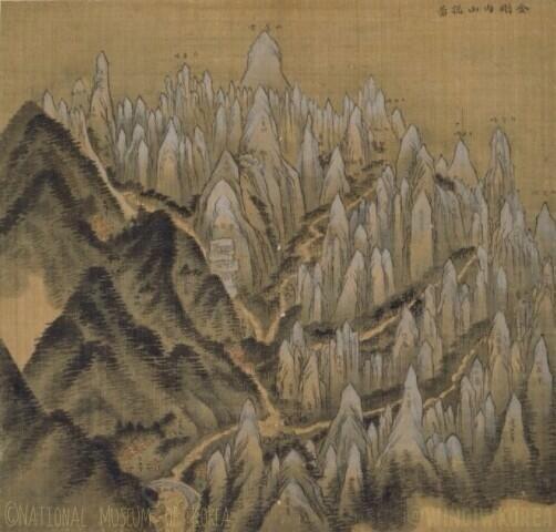 Geumgang naesanchongdo(or Overall view of Mt. Kumkang; 금강내산총도; 金剛內山摠圖, 1711) by Jeong Seon in his thirties.