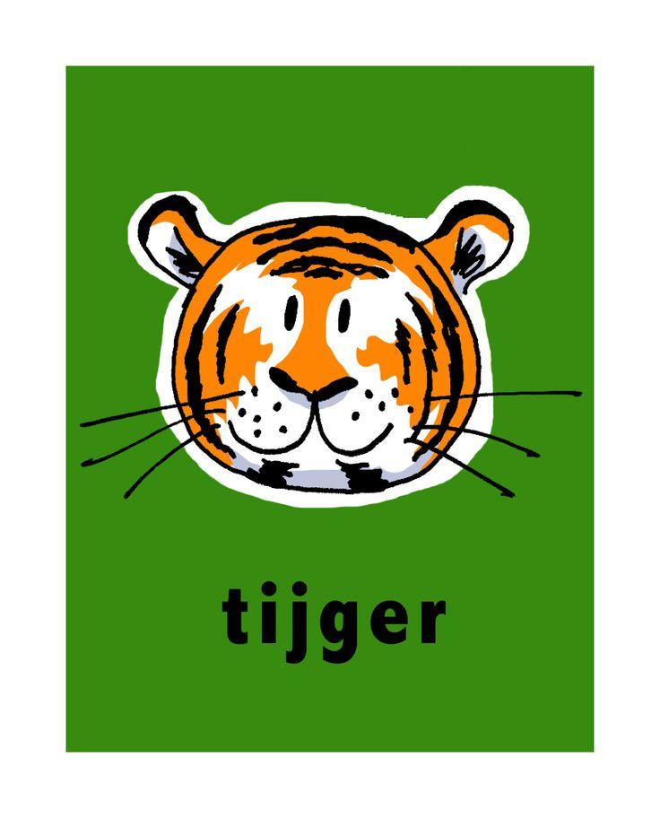 Stoer schilderij van een tijger, met het woord eronder. Leuk als ze leren lezen! Je kunt 'm ook bestellen met de naam van het kind erop; leuk cadeau!