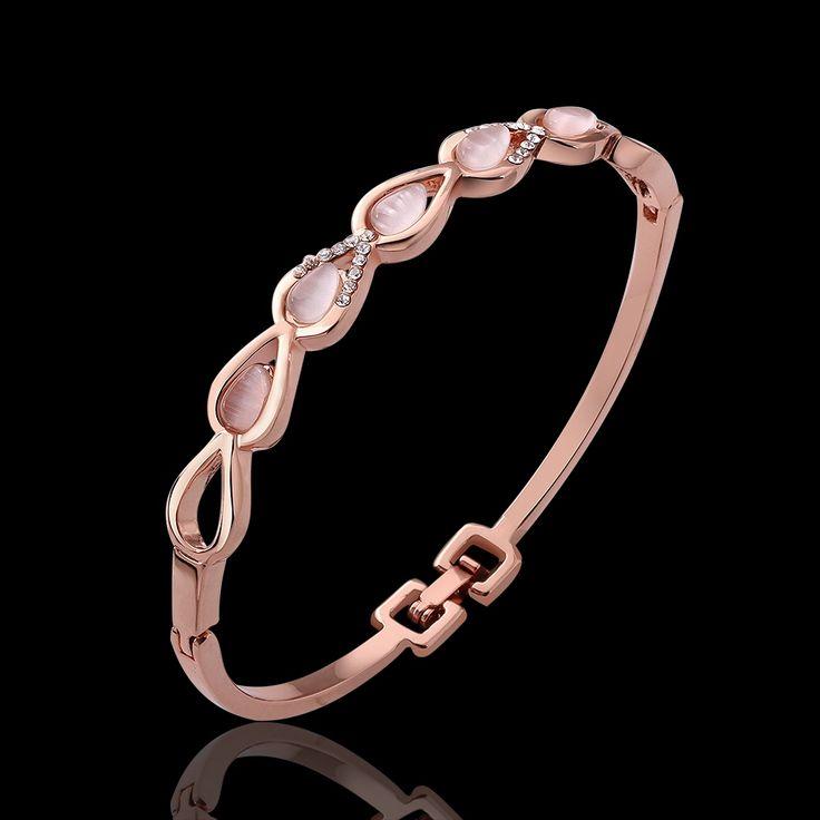 Модный 18 k покрытие из розового золота инкрустированные кристалл опал капля воды женщины в браслеты / браслеты