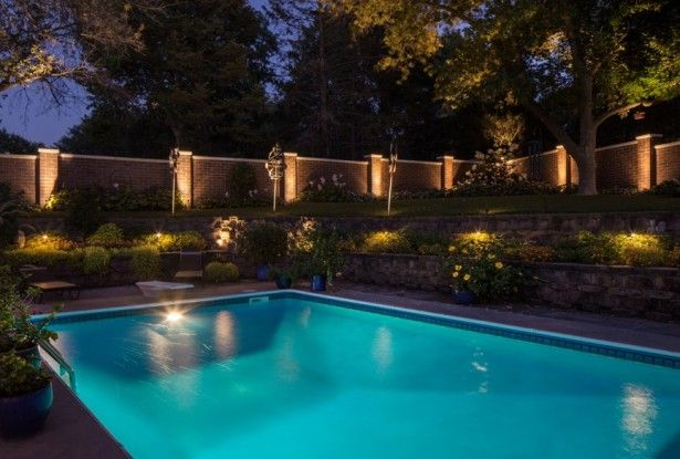 Amazing outdoor recessed lighting around pool design for Pool design lighting