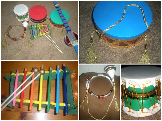 Making all kinds of instruments from things found around the house...