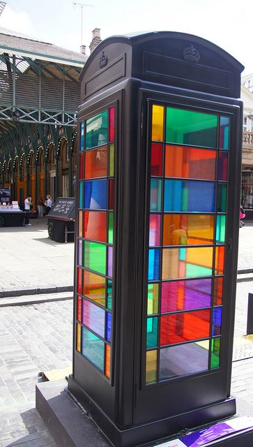 Rainbow Box by thefourthcraw on Flickr - This and 85 other decorated telephone boxes are scattered around London to celebrate the 25th anniversary of ChildLine (a children's counselling charity)