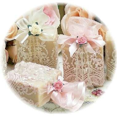 Elegant Rose Soap Party Favors - Photo Could totally do this just buy a few large bars of homemade goat soap and cut into small pieces and wrap with pink lace!!