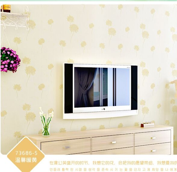 (45.00$)  Watch here  - New home decor Modern and elegant beige pink bedroom non-woven wall stickers Sweet and simple dandelion children room wallpaper
