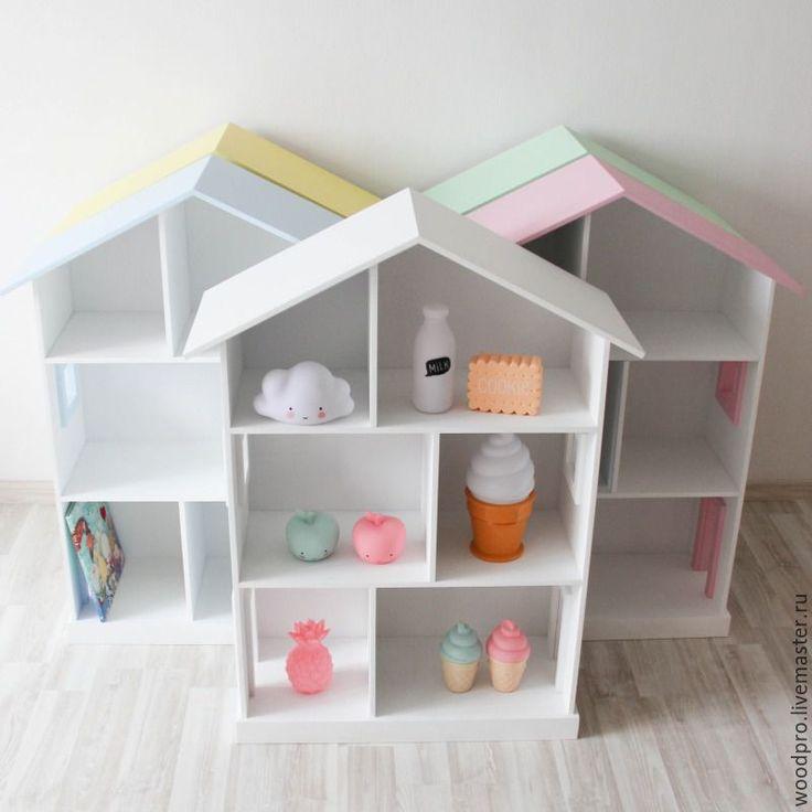 Купить Детская полка домик - кремовый, розовый, белый, домик для детей, домик, полка домик