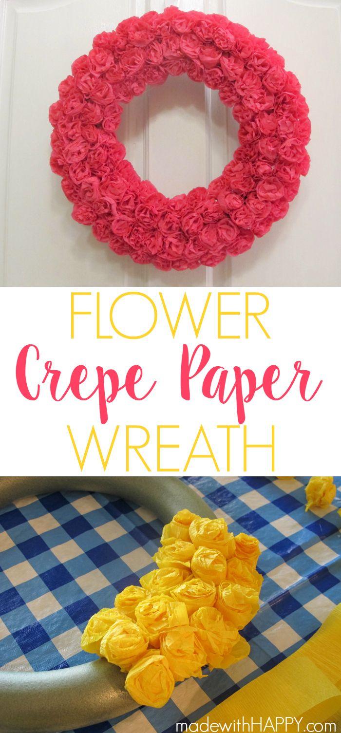 Diy paper flower wreath ruffled - Bright Colored Crepe Paper Flower Wreaths Flower Wreaths Www Madewithhappy Com