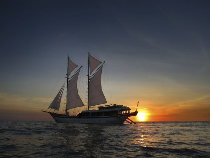 Sensational sunsets in Indonesia from the deck of a luxury phinisi style sailing yacht.