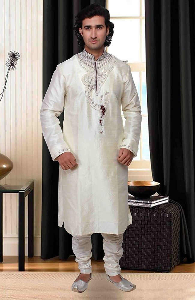 Impressive Off White Kurta Pyjama set