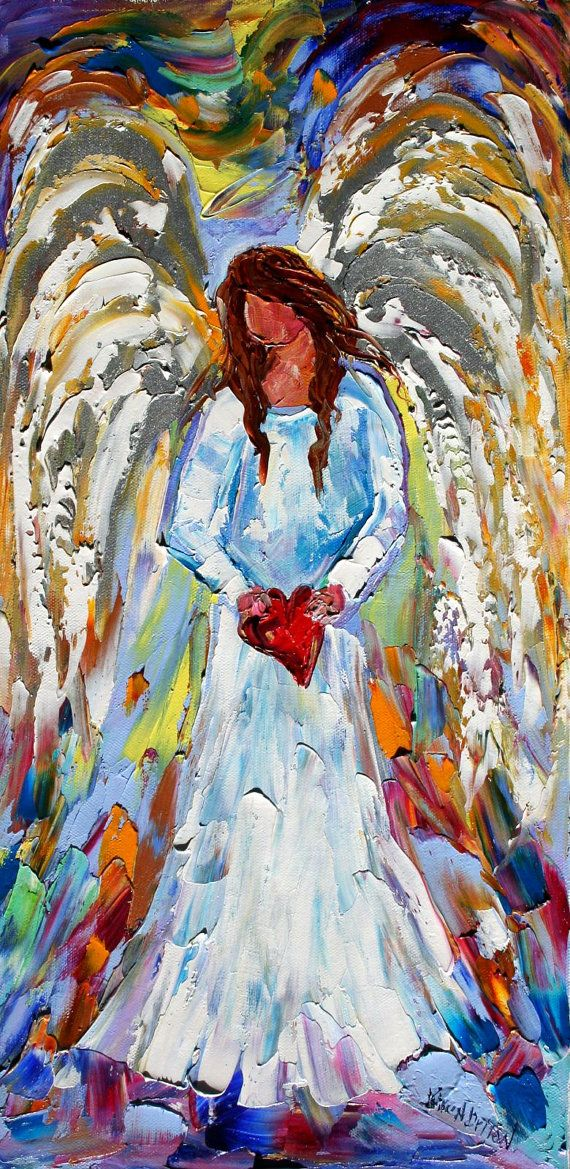 Original oil painting VALENTINE ANGEL palette by Karensfineart