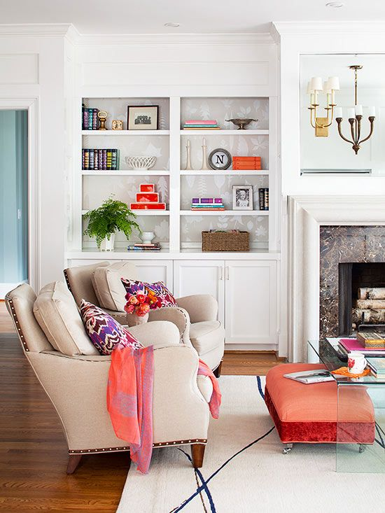 Organize Living Room Ideas: Fireplaces, Ottomans And Bookshelf
