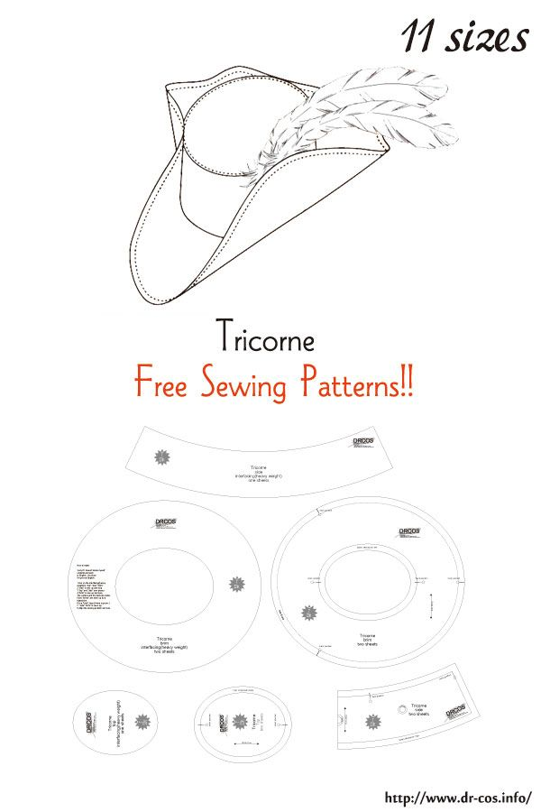 Tricorne Free Sewing Patterns Clothes Sewing Patterns Sewing Hats Leather Hat Pattern