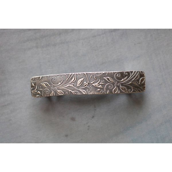 French Barrette Botanical Sterling Silver Hair Clip French Barrette... ($65) ❤ liked on Polyvore featuring accessories, hair accessories, barrettes & clips, grey, hair clip accessories, sterling silver hair accessories, floral hair accessories, sterling silver hair clip and floral hair clips