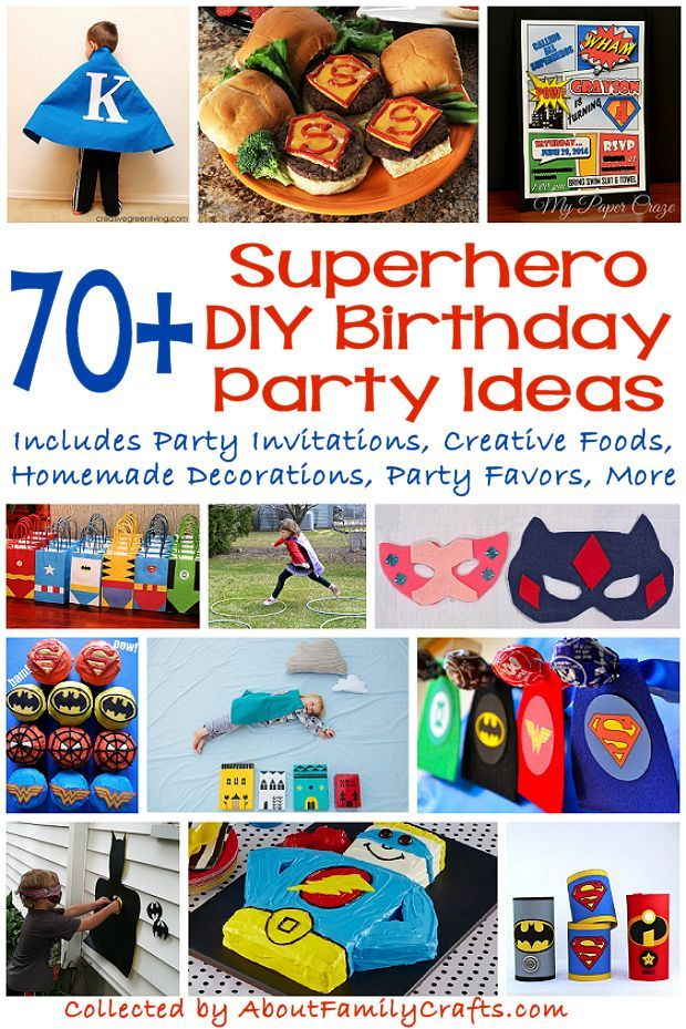 70+ DIY Superhero Party Ideas - Consult this amazing list of more than 70 party supplies and recipes you can create for a superhero-themed birthday party. (http://aboutfamilycrafts.com/70-diy-superhero-party-ideas/)