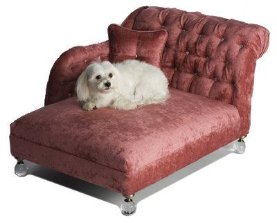 pink crystal tufted chenille chaise dog bed by