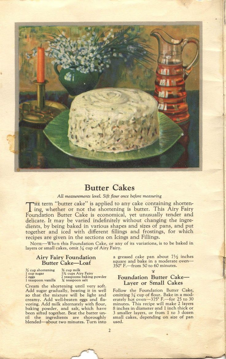 Things Your Grandmother Knew: Vintage Foundation Butter Cake Recipes