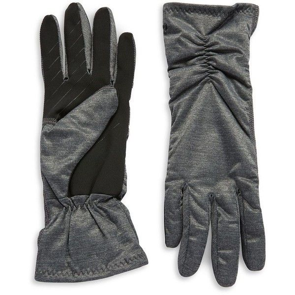 Ur Powered Toucher Thinsulate Gloves (48 CAD) ❤ liked on Polyvore featuring accessories, gloves, grey, stretch gloves, gray gloves and grey gloves