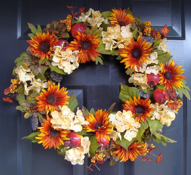FALL WREATH Fall Wreath with Pomegranates and Hydrangeas Fall Fruit Wreath Autumn Wreath for Door. $65.00, via Etsy.