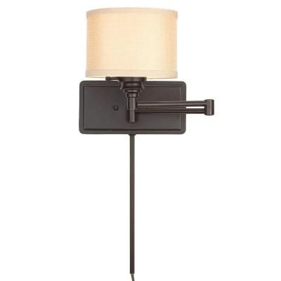 Hampton Bay Brookhaven 1 Light Bronze Swing Arm Sconce With 6 Ft Cord And Plug The Shade