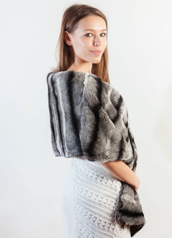 Elegant premium quality Rex fur wrap/stole can be worn in a variety of ways. Large variety of real fur stoles at amifur.com Premium quality guaranteed.