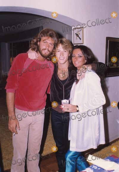 Andy Gibb with Barry Gibb with Linda, Barry's wife 1979 Photo by Bob Sherman-Globe Photos, Inc.