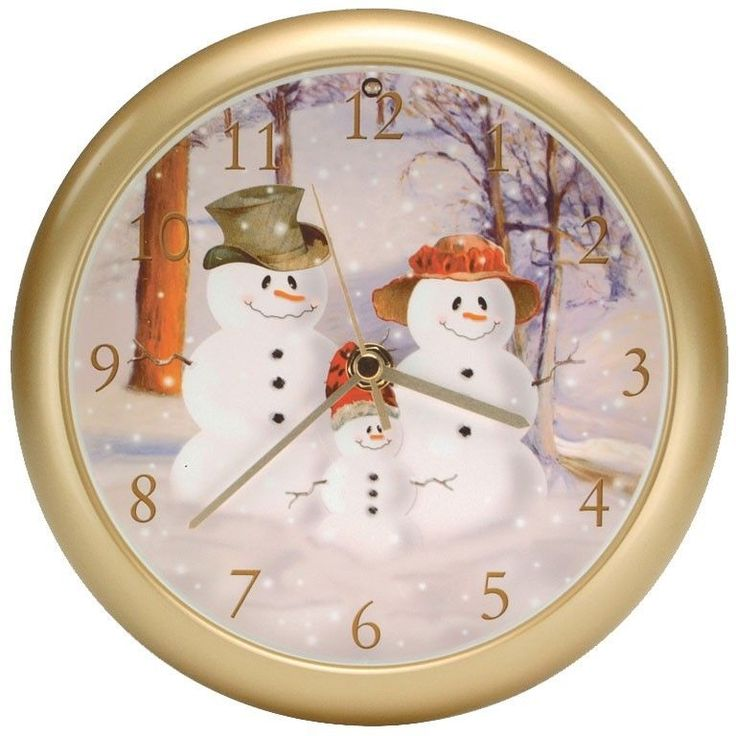 CLOCKS WITH SOUNDS Musical Wall Clock Christmas Snowman XMAS8022 SNOW FAMILY  #ClocksWithSound