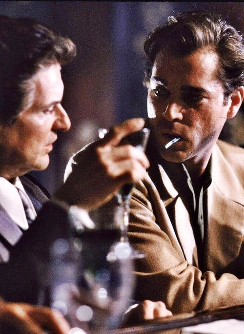 "Joe Pesci and Ray Liotta - Goodfellas, 1990. Directed by Martin Scorsese and also starring Paul Sorvino and Robert DeNiro. Based on the true story of half-Irish, half-Sicilian gangster Henry Hill, who ended up in the witness protection program. ""Now go get your shine box!"""