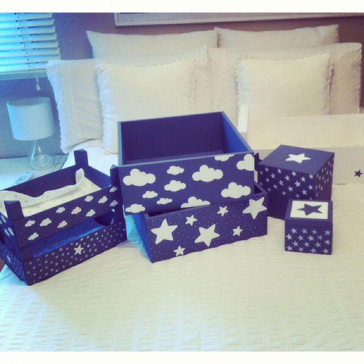Cajas decoradas con nubes y estrellas craft ideas - Cajas de madera decoradas ...