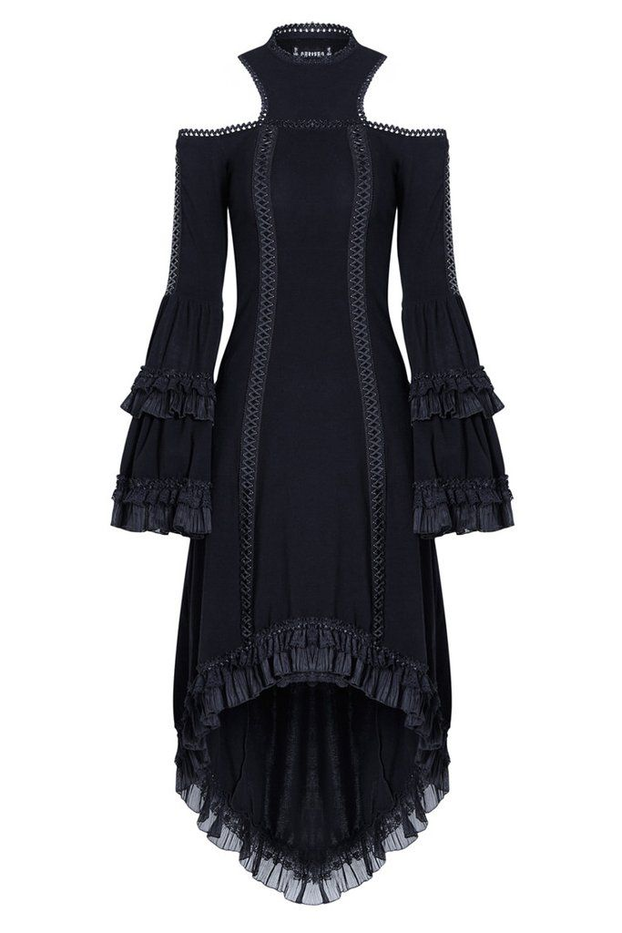 DW128 Gothic tail sexy dress with big trumpet sleeves