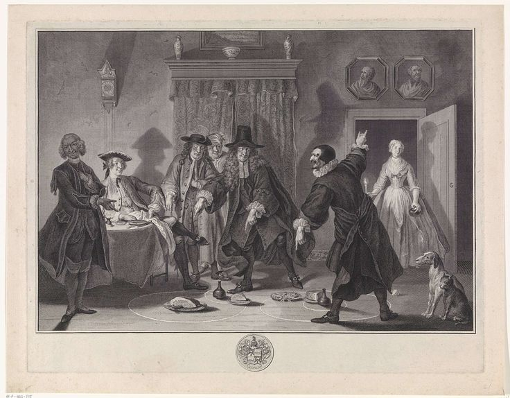 Pieter Tanjé | De wiskonstenaars of het gevluchte juffertje, Pieter Tanjé, Cornelis Troost, 1752 - 1761 | De doktoren Raasbollius en Urinaal twisten in de herberg van Loenen over de loop van de planeten, terwijl Eelhart zittend aan tafel toekijkt. Boven de deur hangen de portretten van Copernicus en Ptolemaeus. Door de deur betreedt een vrouw met kaars in de hand de kamer. Scène uit het negentiende toneel van De wiskunstenaars, of 't Gevluchte juffertje van Pieter Langendijk. Onderaan in de…