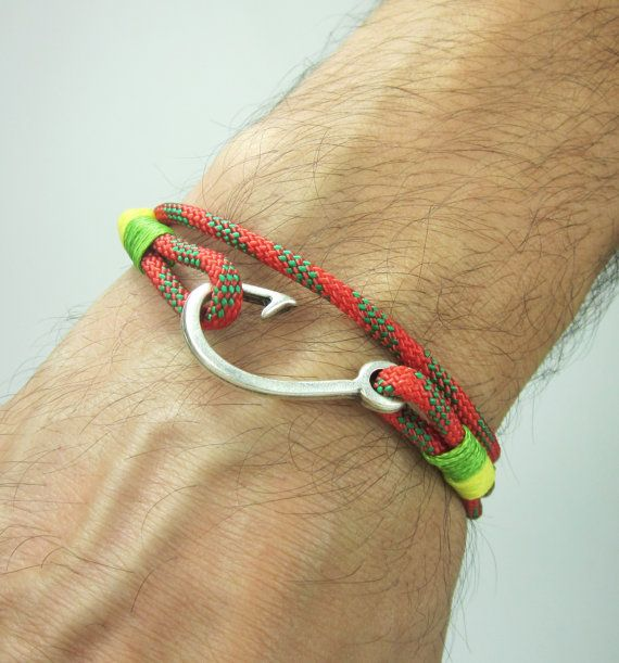 Fish Hook Bracelet in RedGreenYellow  Rope by ZEcollection on Etsy, $14.00