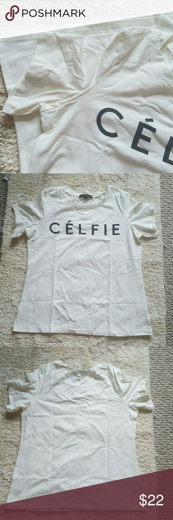 CELFIE SHORT SLEEVE TOP White top sizes large med and small available brand new Tops Tees - Short Sleeve