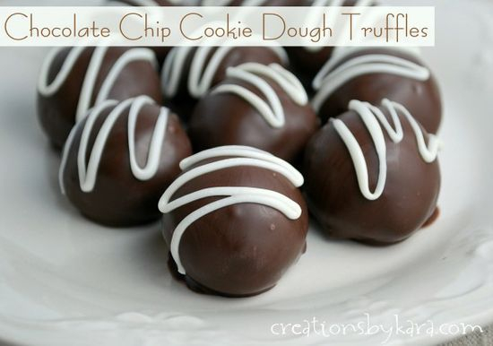 Chocolate Chip Cookie Dough Truffles. Dont worry, there are no eggs in the dough!   from http://womanmag.net/