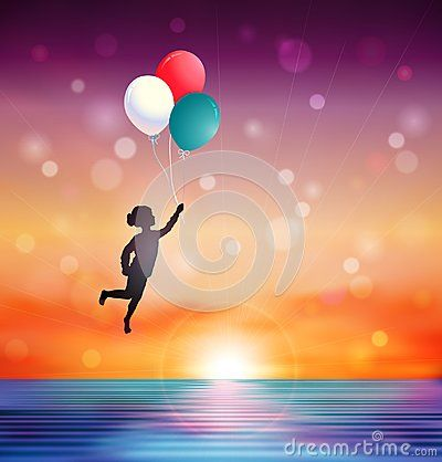 Girl silhouette flying over the sea and holding colorful balloons, surreal sunset over the horizon, isolated on white background vector illustration background.