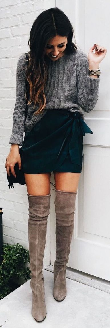 #Winter #Outfits / Gray Sweater + OTK Boots
