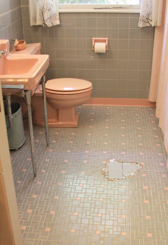 8 best pink bathroom renovation ideas images on pinterest for Vintage pink bathroom ideas