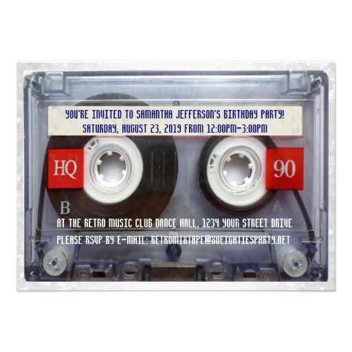 Funny 80s Cassette Mixtape Party Card. TanzpartysEinladung Zur  GeburtstagspartyEinladungskartenEreigniseinladung Design80er ...