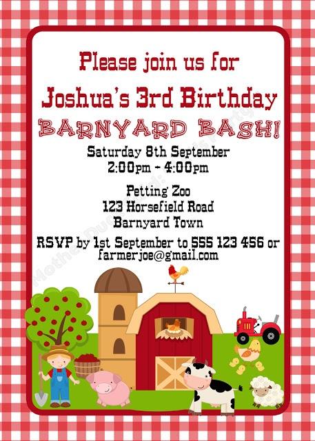 Barnyard Party Invitation / Farm Party Invitation