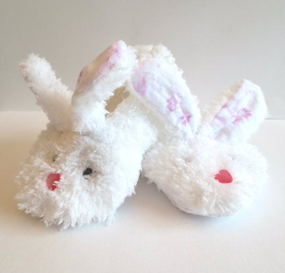White Fluffy Minky Bunny Slippers with Jiffy Grip Bottoms for Infant and  Children Fluffy Rabbit Ears Baby Shoes