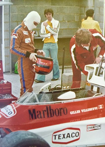 Gilles testing at Silverstone, 1977. A confused Derek Daly in the background!