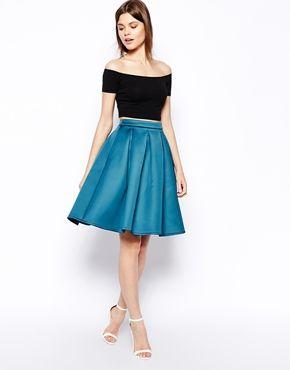 ASOS/ Premium Full Skirt In Bonded Satin