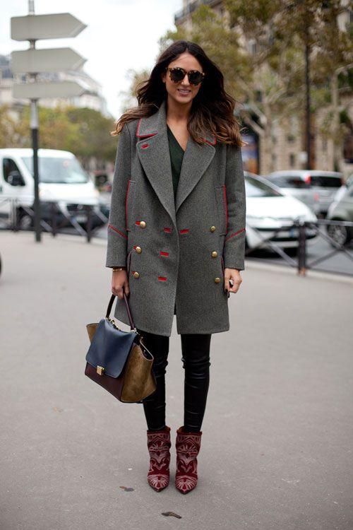 STREET STYLE SPRING 2013: PARIS FASHION WEEK - It's a French designer moment in Paris for this chic one in a Marant coat and boots and Celine bag.