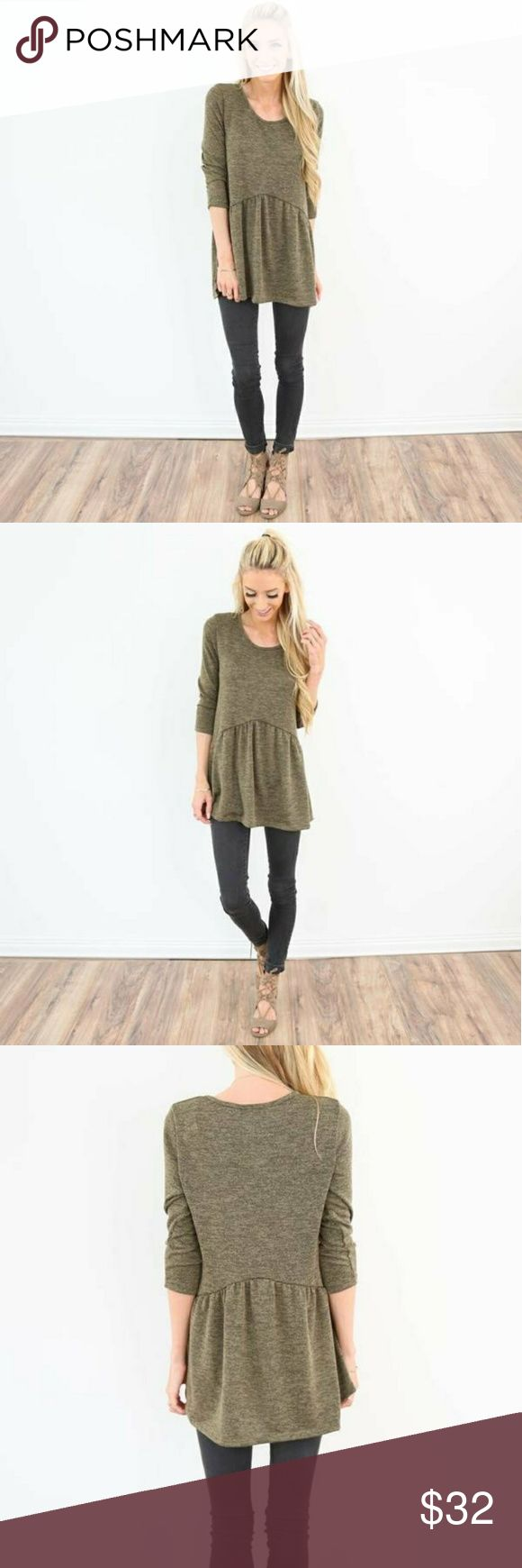 "Duke Peplum Sweater This cute olive green sweater is so soft & comfy! Model is 5' 3"" wearing a size small. Shop Stevie Sweaters"