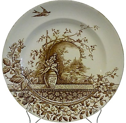 French country farmhouse: brown transfer-ware plate - RIDGWAYS Rustic Hill Pottery