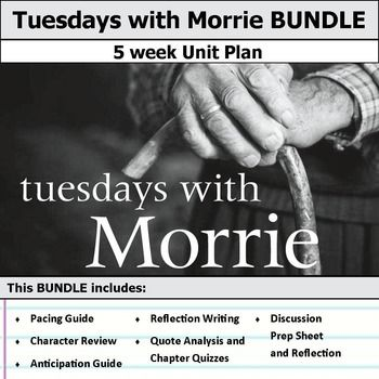 5 weeks of lesson plans. Includes pacing guide, film essay, activities, chapter quizzes, and discussions. This bundle has everything you need to get started teaching Tuesdays with Morrie in an engaging way!