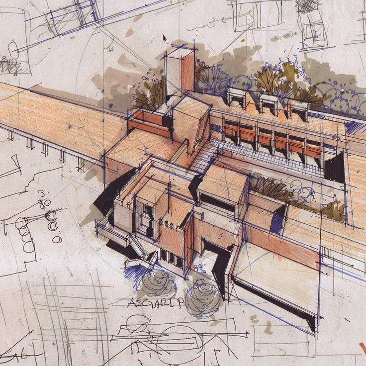 good mixture of media showing different parts of the sketch including the building itself, shadow and surrounding areas.