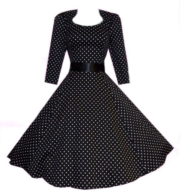 50s dresses for girls cheap polka dot winter | ... 40's 50's Retro Vintage Style Black Polka Dot Crop Sleeve Swing Dress