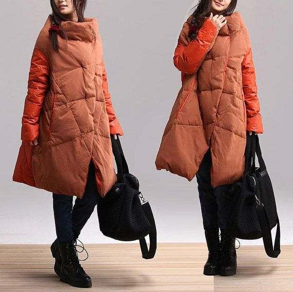 Irregular winter long section collar down jacket / atmosphere comfortable and warm winter duck down asymmetrical stitching  Overcoat on Etsy, $168.00