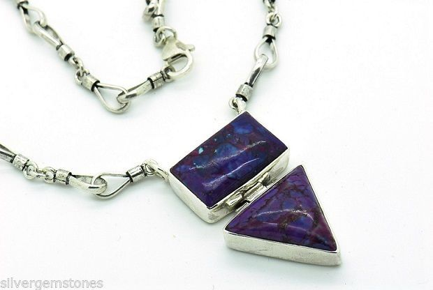 Sterling Silver Gemstone Necklace Purple Mohave Turquoise.